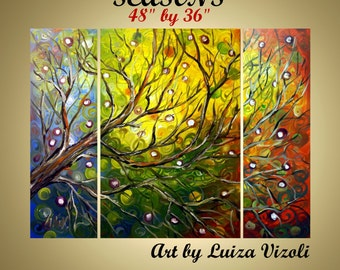 Abstract Painting Original Oil Art Landscape Triptych Modern Tree SESAONS Art by Luiza Vizoli  48x36 MADE to ORDER