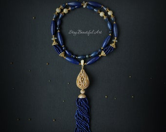 Lapis Lazuli Necklace and Rock Crystal Gemstone Necklace Blue and Gold Jewelry Beaded necklace September Birthstone