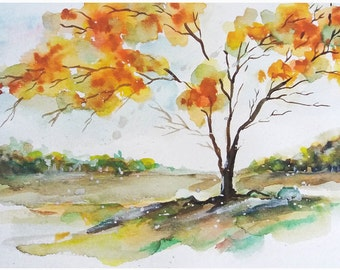 Fire Tree, Colorful Tree, Gicleé Print, Abstract Painting, Watercolor Painting