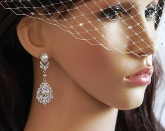 Clip on or pierced, Crystal chandelier drop earrings, Silver or rose gold, wedding earrings, bridal jewelry, mother  bride, Prom earrings