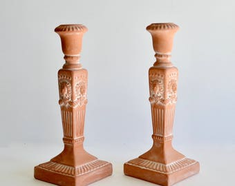 Vintage Rosenthal Netter Candlestick Holders Set of Two Lion Heads Terra Cotta Pottery Hollywood Regency Candleholders Made in Taiwan