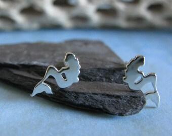Mermaid sterling silver stud earrings. Dainty maiden post earrings. 14k gold filled or solid 14k gold. Under the sea Ocean fish