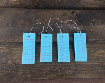 Set Of 4 Inspiring Word Ornament/Gift tags