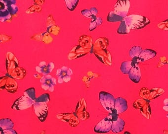 Butterflies and flowers polyester/spandex-type fabric 150cm wide, sold per metre