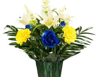 White Lilies and Blue Rose with Larkspur Potted Silk Flower Arrangement - Cemetery Flowers - Spring Flowers (PT1970)