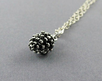 Silver Pinecone Necklace, Pinecone Pendant, Pine Cone Necklace, Nature Gift, Holiday Gift