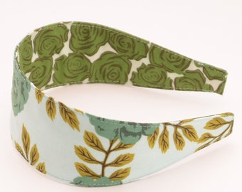 REVERSIBLE Vintage Rose in Mint Comfort Fit Fabric Headband