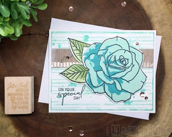 On Your Special Day Rose Fancy Greeting Card Handmade in Aqua Blue Green for Birthday Anniversary Wife Girlfriend Sister Mom Daughter Aunt