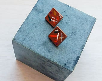 Square clay hand painted post earrings