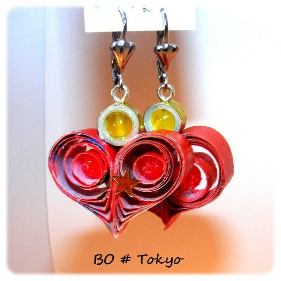 Unique Designer [Tokyo] - red - yellow earrings
