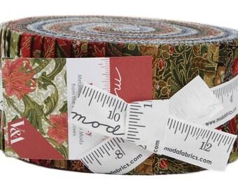"Moda Morris Holiday Jelly Roll 2.5"" Precut Metallic Fabric Quilting Strips 7310JRM"