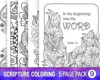 5 Pack Bible Verse Coloring Page Adult Relaxation DIY Party Inspirational Quote Floral Prayer Journal Pages
