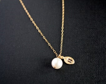 Gold necklace - initial leaf and Pearl necklace, birthday gifts, bridesmaids gifts, bridal jewelry, wedding jewelry, simple elegant