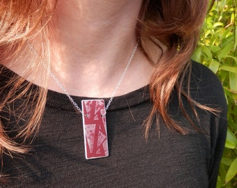 Red rectangle art deco pattern Necklace