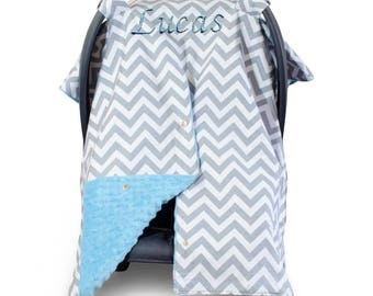Baby Car Seat Canopy Custom Canopy Baby Blue Minky Blanket Personalized blanket Baby Car Seat Cover Baby Shower Gift
