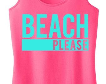BEACH PLEASE Tank Top, Beach Clothes, Beach Tank, Beach Clothing, Gym Tank, Gym Clothing, Summer, Beach tank top