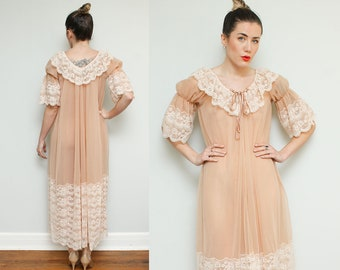 60s Sheer Night Gown // Maxi Peach Lace Robe Puffy Short Sleeve Sexy Romantic Small Medium Peignoir Negligee