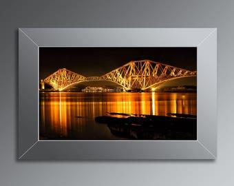 Forth Railway Bridge Print / Forth Bridges at Night / Forth Railway Bridge / Firth of Forth / South Queensferry / Edinburgh / Scotland