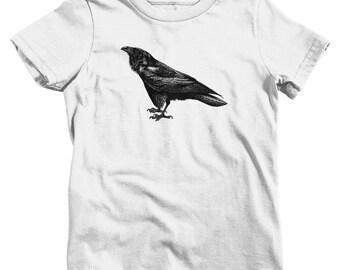 Kids Raven T-shirt - Baby, Toddler, and Youth Sizes - Bird Kids, Poe Kids, Vintage Kids, Animal Art Kids, Corvus Corax Kids