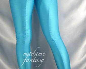 Turquoise footed spandex leggings / tights