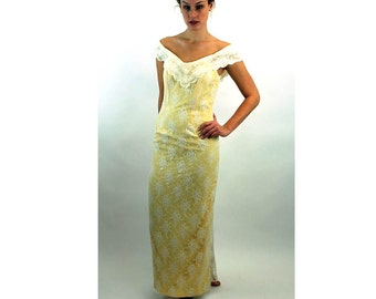 1960s lace gown yellow white dress with train off shoulder Size M