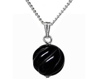 12mm Genuine Black Onyx Gemstone Carved Spiral Bead / Ball / Sphere 925 Sterling Silver Pendant + Chain / Necklace