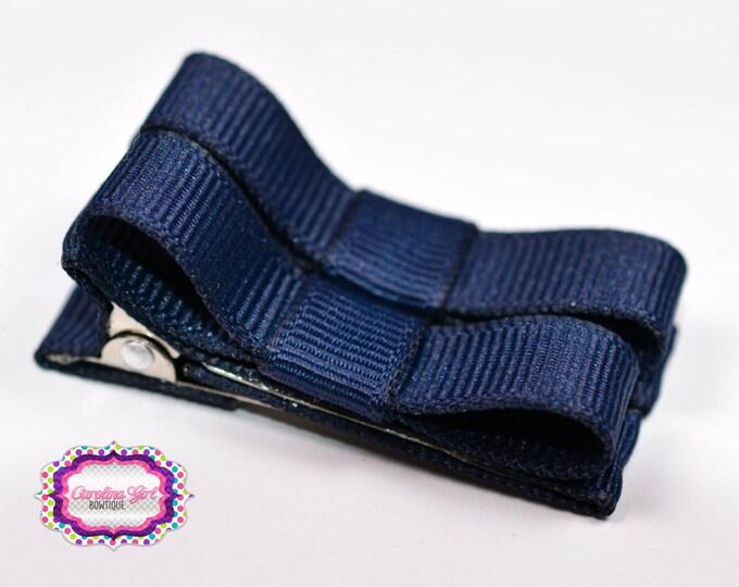 Navy Hair Clips Basic Tuxedo Clips Alligator Non Slip Barrettes for Babies Toddler Girl Set of 2