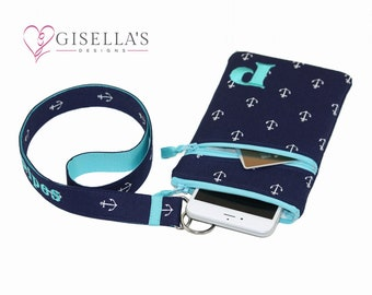 Personalized Nautical iPhone X wallet with matching lanyard, Monogram cell Phone Holder and lanyard, Samsung Galaxy S8 wallet and lanyard.