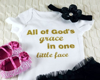 All of Gods Grace New Bodysuit Baby Girl Clothes Baby Girl Newborn Shirt New Baby Shirt Birth New Baby Coming Home Outfit Baby Shower #3