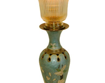 Reclaimed Green Vase Table Lamp w/ Upswept Shade