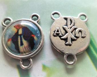 Center Rosary Virgin miraculous 17 x 14 mm, hole 1 mm links