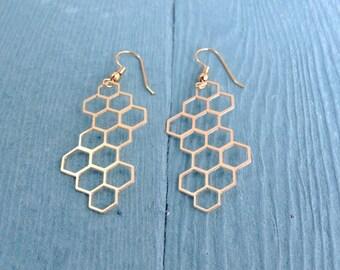 Honeycomb  Earrings, Dangle Gold Plated Geometric Earrings, Hexagons Earrings, Geometric Jewelry,  Bridesmaid Gift, Wedding  Earrings