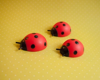 6 Ladybug Cake Toppers - Picnic Cupcake Toppers