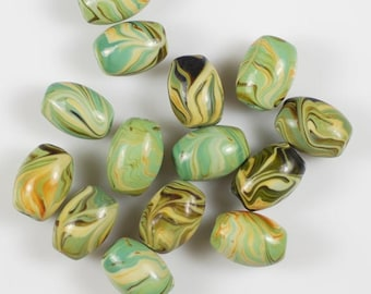 Set of 6 Blue Green Cream Brown Swirls Barrel Beads Lampwork Glass