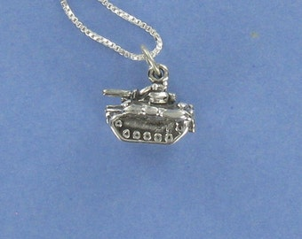 Military Tank Necklace - 925 Sterling Silver