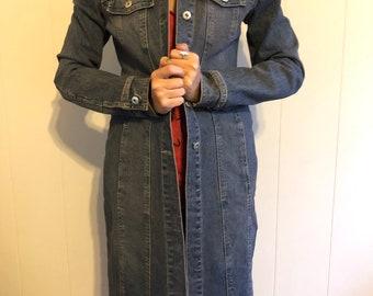 Rubbish Long Denim Coat Size Small, Vintage, Jean Jacket