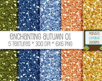 SALE - Enchanting Autumn Glitter Textures - Green Blue Orange Gold - Scrapbooking, Photography, Blog Design, Invitations - CU OK