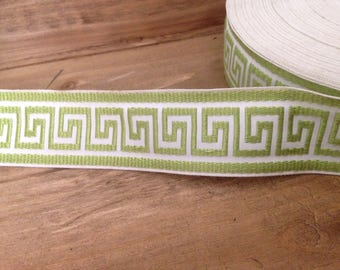 "1 Yard 1-3/4"" Lime Green Greek Key Trim,Greek Key Jacquard Trim, 1-3/4"" Greek Key Braid, 45mm Woven Jacquard Greek Key Trim , Greek Key"