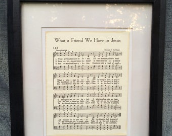What a Friend We Have in Jesus Vintage-Look Hymn Sheet Music on Canvas Board Home Decor Christian Inspirational Art Gift