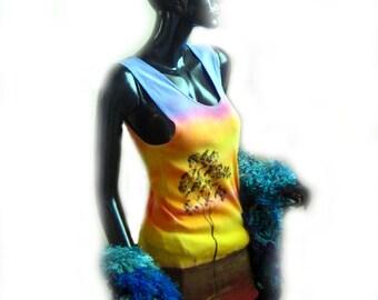 Mens Sunset Trees Silhouette Singlet Vest Hand Painted Dye Fabric Paint Wearable Art Vest Tank top
