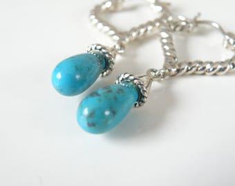 Sterling Silver 925 Arizona Kingman Turquoise Drop Dangle Boho Bohemian Cable Lever back Earrings