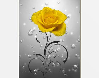 Yellow Gray Rose Flower Bubbles Bathroom Home Decor Wall Art Matted Picture