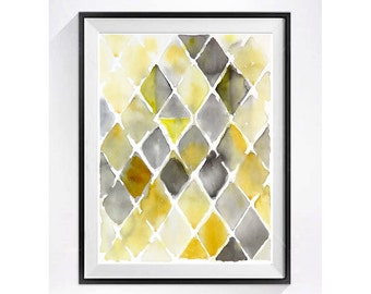 Abstract Art Prints Modern Artwork Century modern geometric Watercolor abstract Geometric Illustration Poster Chevrons Christmas Time Sale