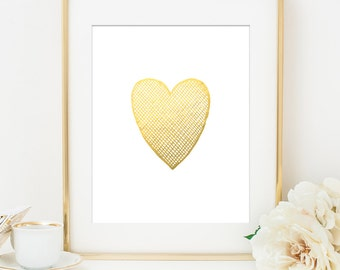 Gold Heart Art Print,Gold Heart Print, Gold Art, White & Gold, Gold Heart, Love Heart, Anniversary Gift, Gift for Her, Gift for Mom