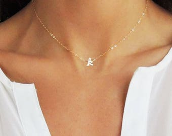 Choker Necklace, Dainty Choker Necklace, Tiny Letter Necklace, Letter Choker, Custom Choker, Gold Choker, Gift for her, bridesmaids gift