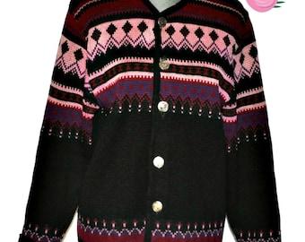 Vintage NORVYK by RENOIR Virgin Wool Nordic Cardigan Sweater Medium Womens