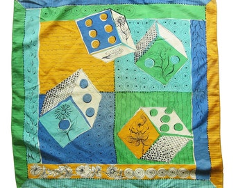 Large Vintage Scarf -Geometric and Floral Design - Bright Yellow Aqua Green and Blue Neck Scarf Head Scarf