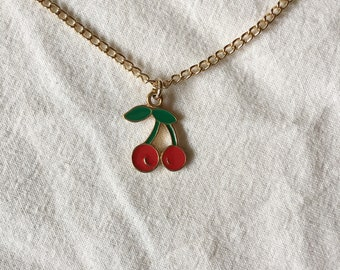 dainty Cherry necklace with gold chain