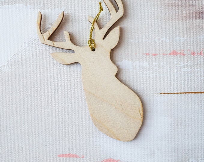 Stag Head Ornaments, 4 CT.  Laser Cut, Acrylic, Holiday and Christmas