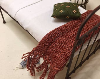 Shabby Chic Handmade Miniature Dollhouse TWIN Bed Throw - Hand Knitted- Rust